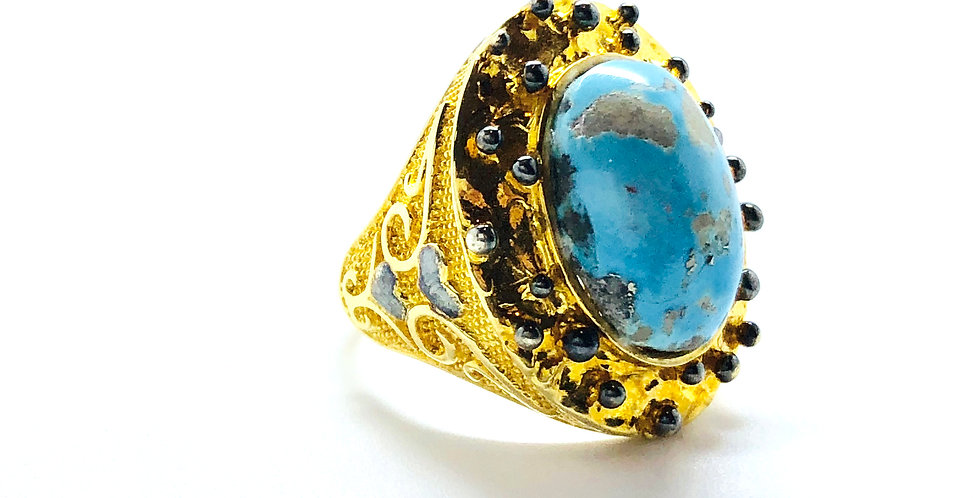 Chunky Turquoise Gold over .925 Silver Ring