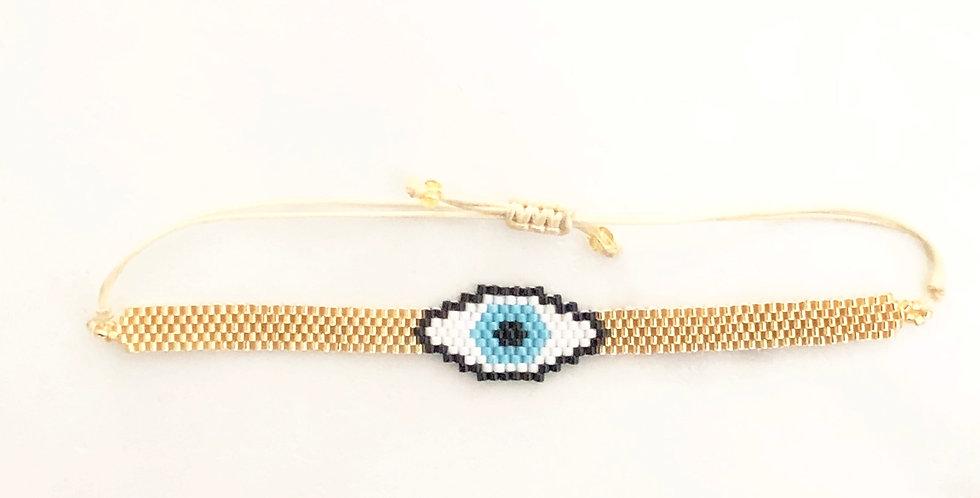 Thin Gold w/ Evil Eye Fabric Bracelet