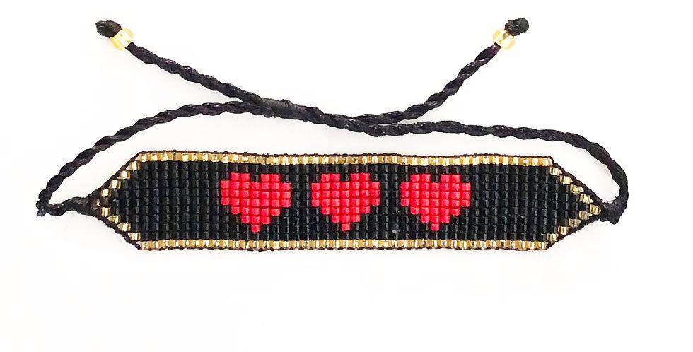 Black w/ Triple Red Hearts Fabric Bracelet