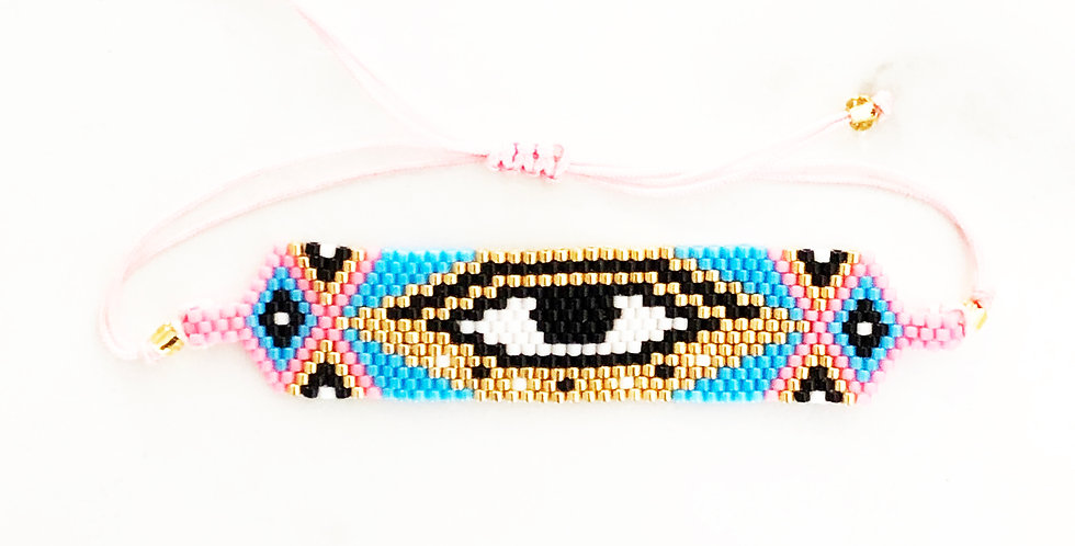 Pink Thick Evil Eye Fabric Bracelet