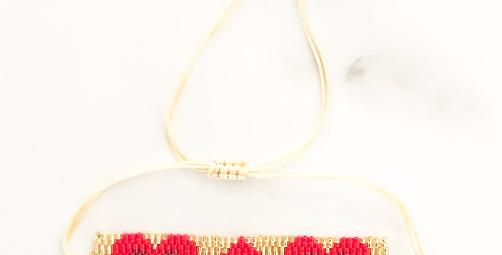 Thick Triple Heart Gold & Red Fabric Bracelet