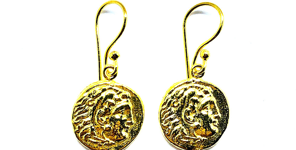 Small Vintage Gold Plated .925 Silver Hook Earrings