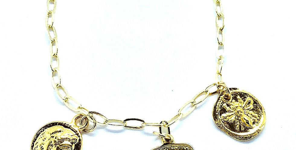 Triple Gold Coins Chain Bracelet