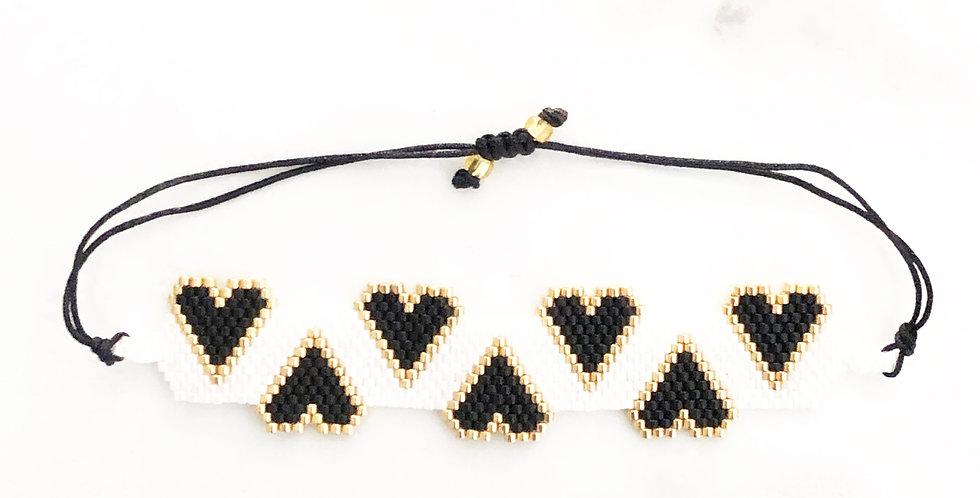 Black & White Multi Hearts Fabric Bracelet