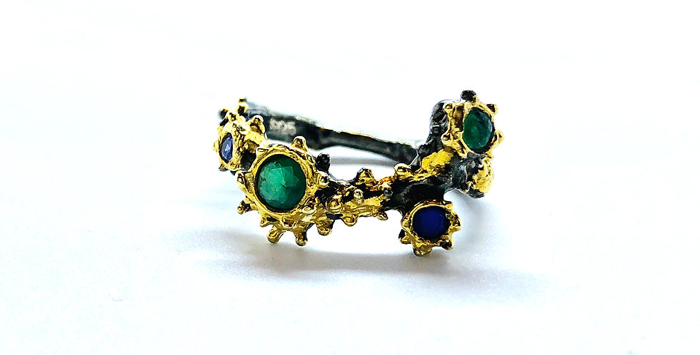 Multi Amethyst & Emerald Stones Gold over .925 Silver Ring