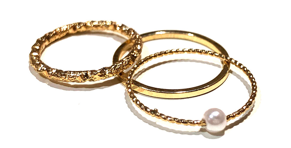 Thin Multi Style Rings - 18k gold plated over brass