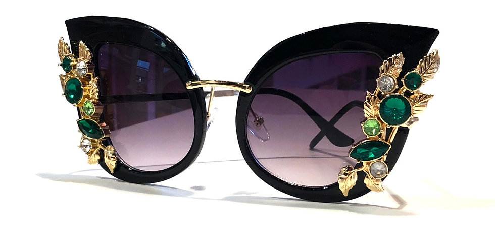 Green Stones Black Sunglasses