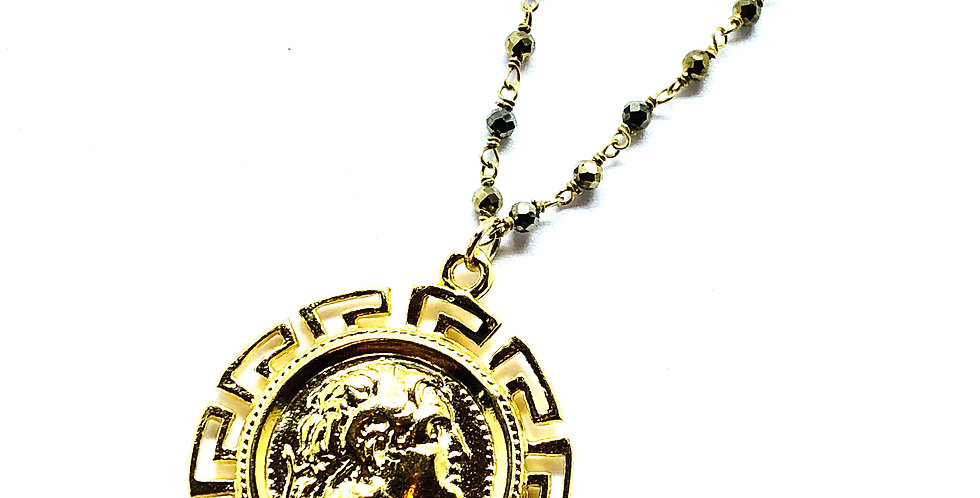Hermes Coin on Pyrite Chain Necklace
