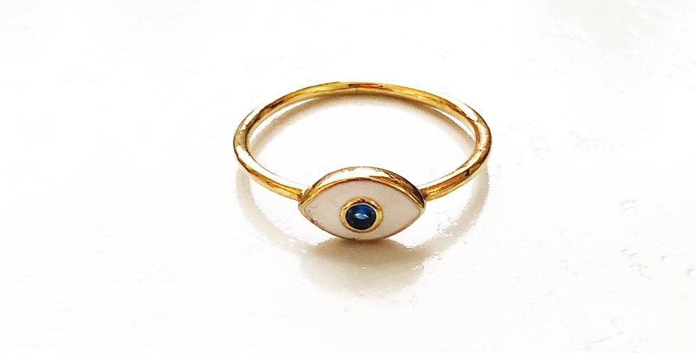 White Enamel Evil Eye Ring
