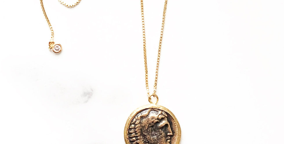 Adjustable Rhodium Heracle (Hercules) Face Coin Necklace