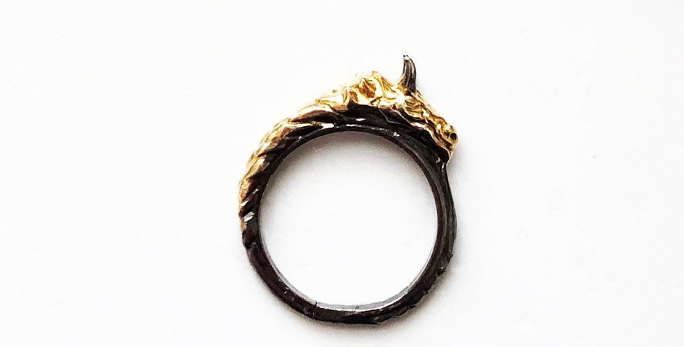 Thin Dragon Rhodium Ring