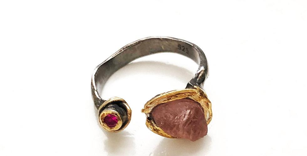 Single Small Druzy Rhodium Open Ring