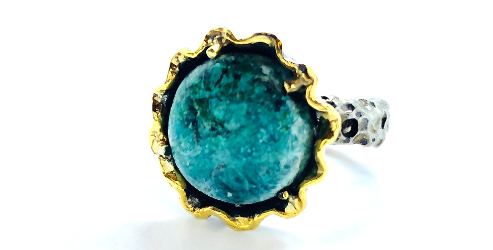 Turquoise Stone Gold over .925 Silver Ring