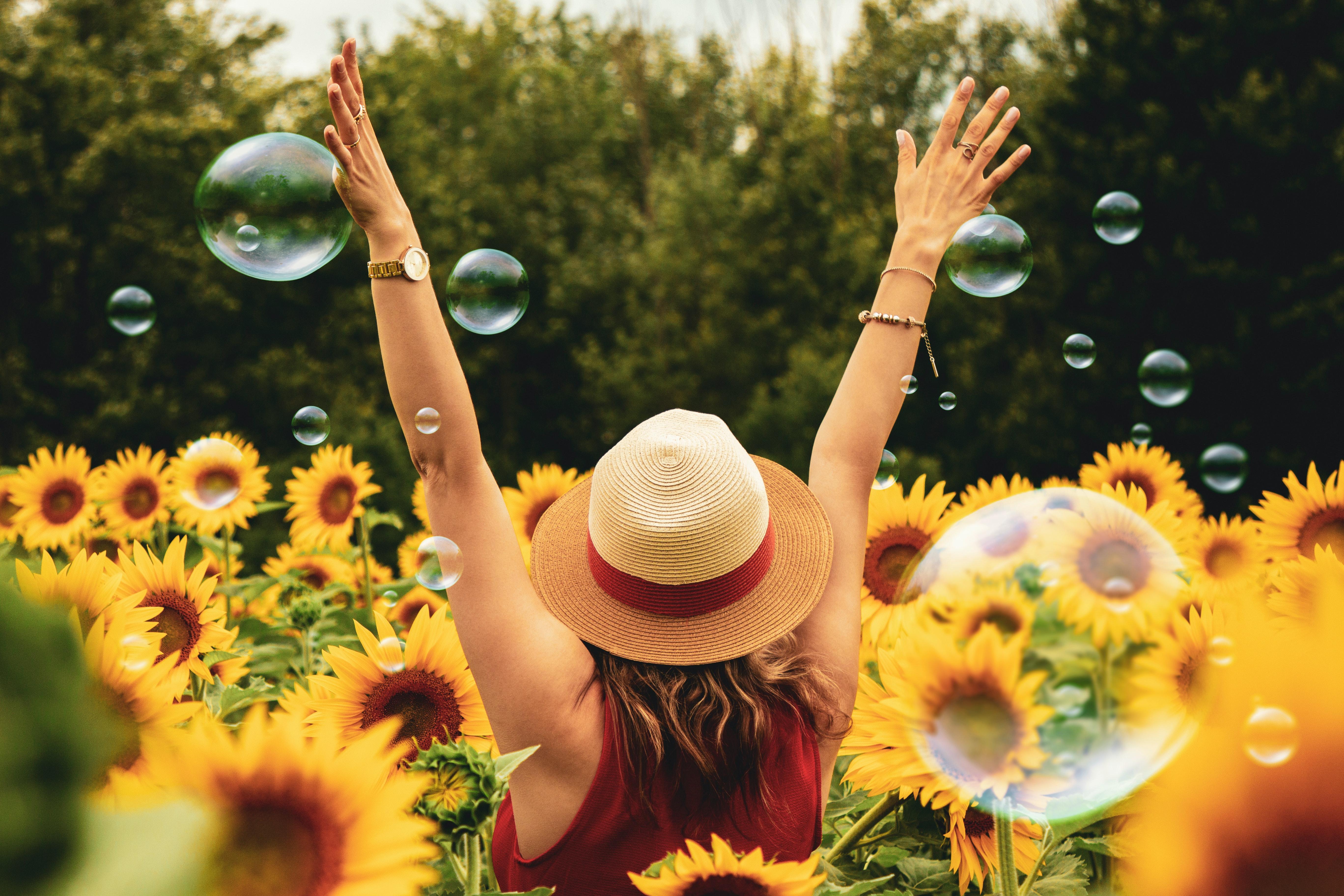 girls in sunflowers