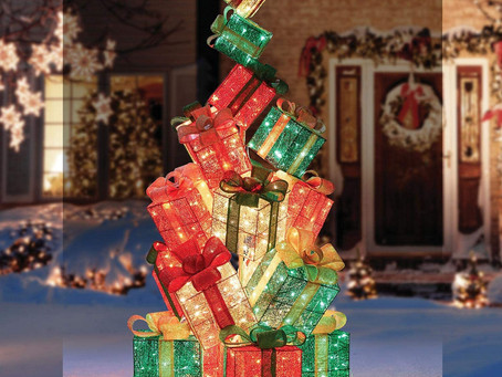Everstar LED Christmas Holiday Lighted Twinkling 18-Present Gift Box Tower