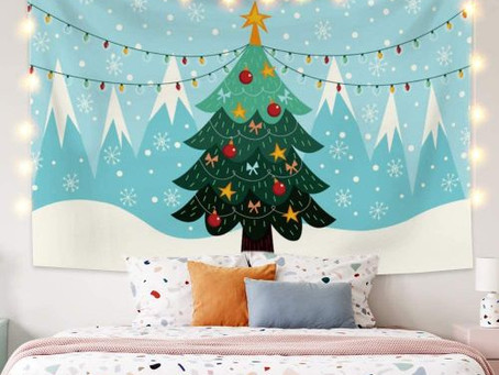 Winter Fairy Tale Forest Snowflakes Wall Tapestry Blanket