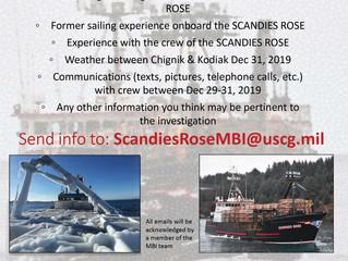 Coast Guard Investigation Board Seeks Info on F/V Scandies Rose