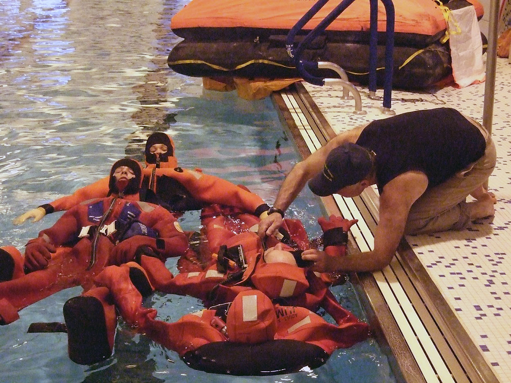 Cold-Water Safety & Survival Training in an AMSEA Fishing Vessel Drill Conductor Class
