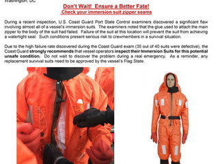 Coast Guard Urges Mariners to Inspect Immersion Suit Zippers