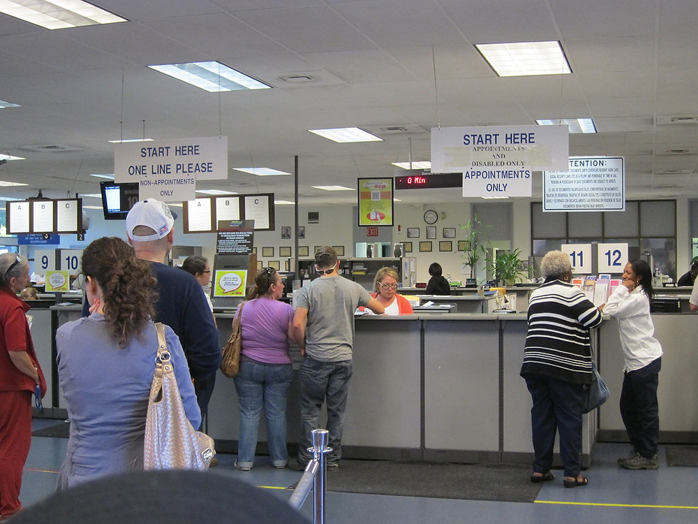 Waiting in line at the DMV.