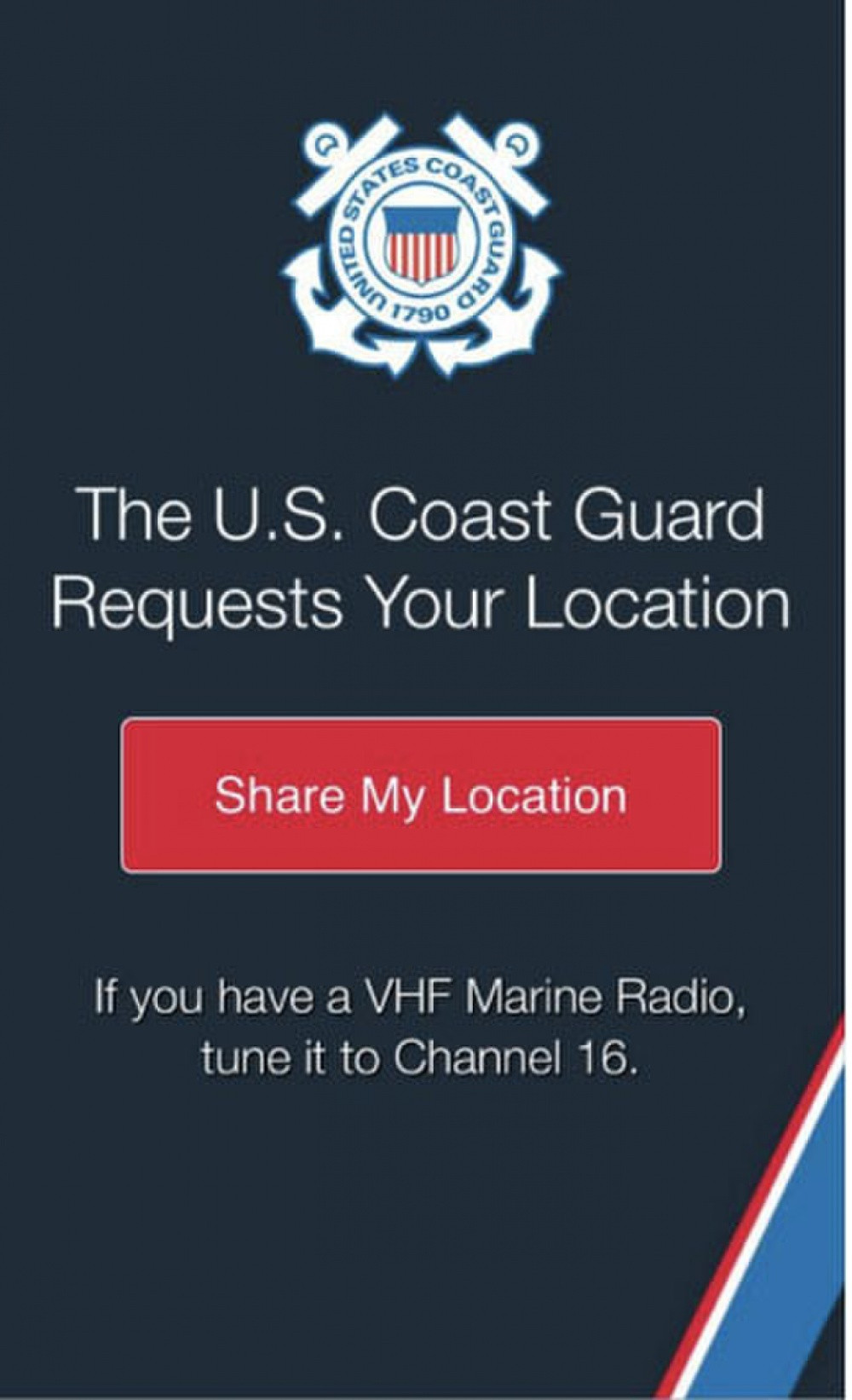 USCG website with Share My Location button.