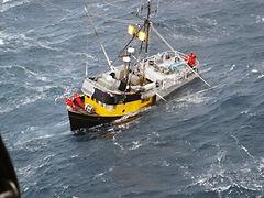 Sinking longline fishing vessel in the Gulf of Alaska.