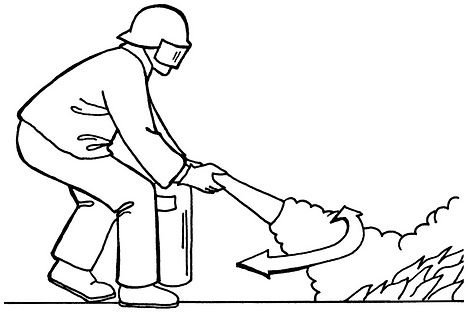 How to use a fire extinguisher: Aim low, squeeze trigger, and sweep the base of the fire rapidly.
