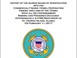 Marine Board of Investigation Report on the F/V Destination Sinking is Released