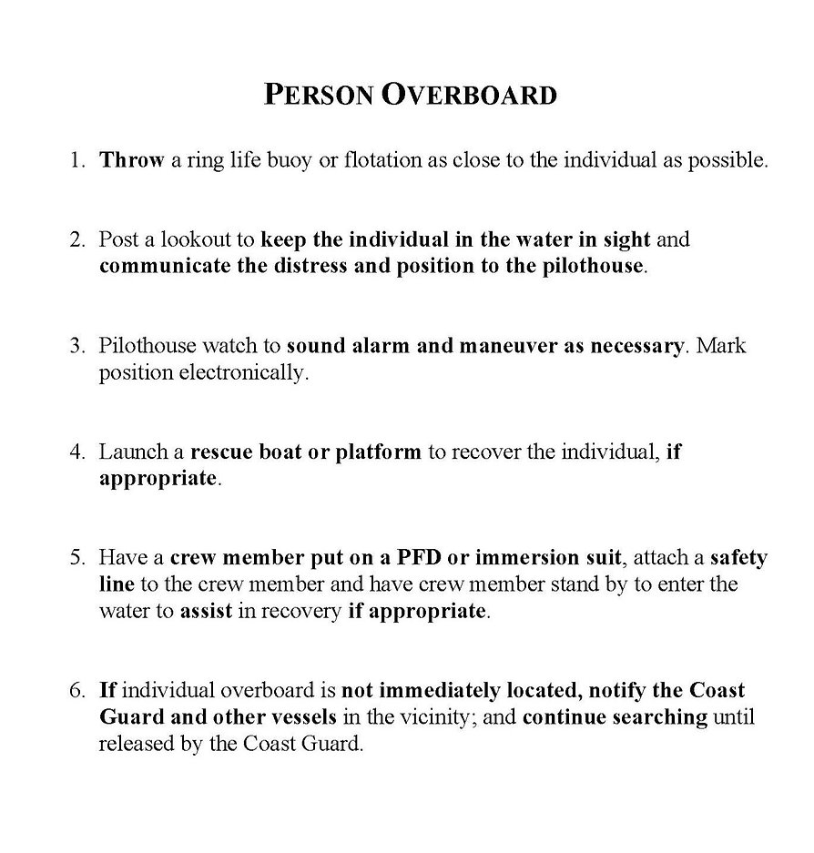 Instructions for man overboard recovery.