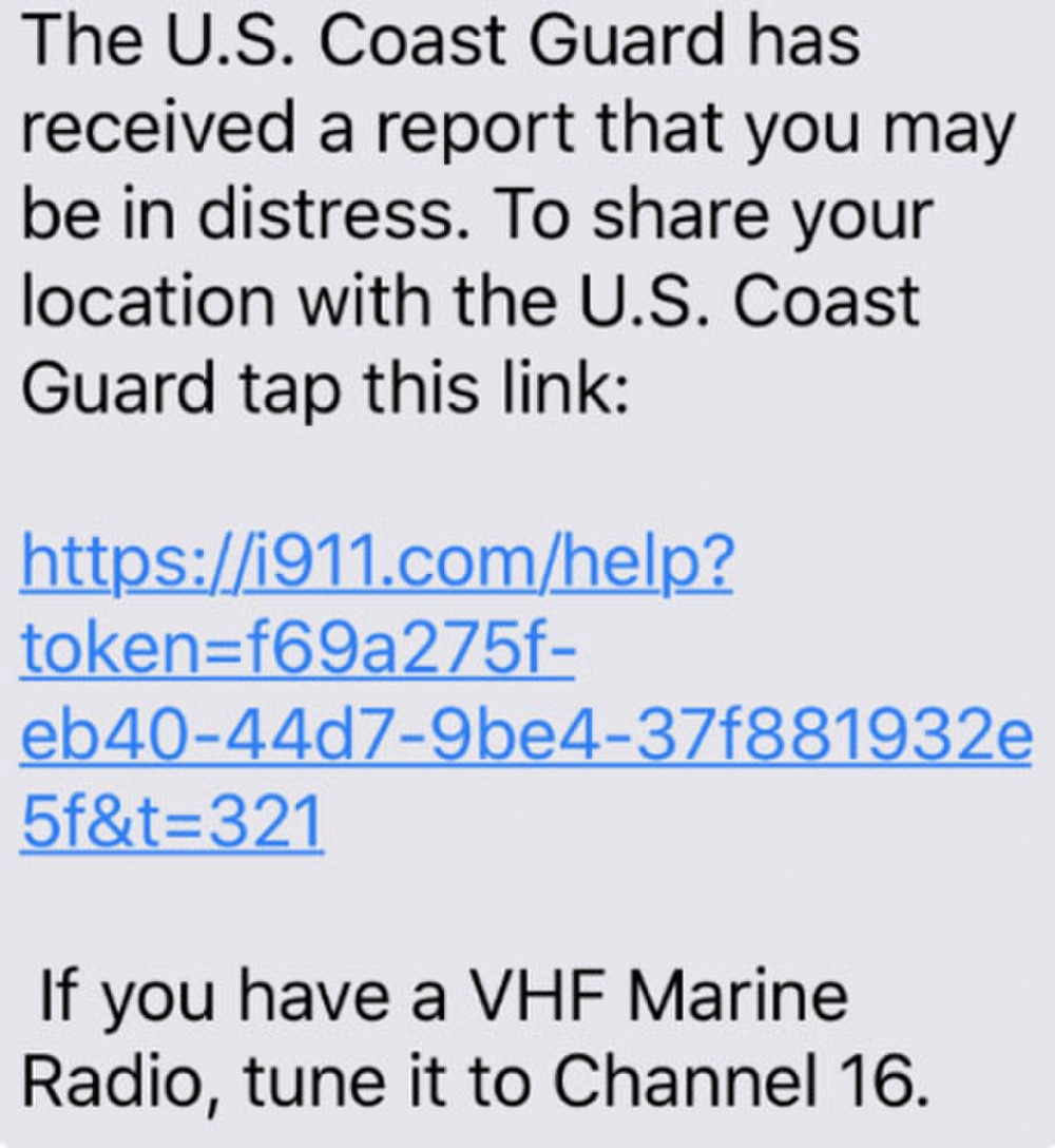 The USCG sends a text message telling a mariner to click the included link if they are in distress.