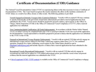 USCG Issues Guidance on Certificates of Documentation