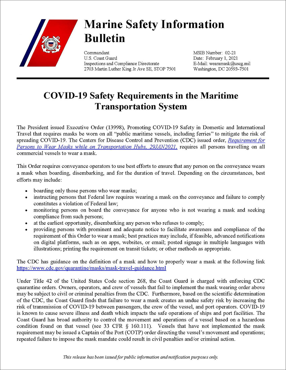 Marine Safety Information Bulletin 02-21