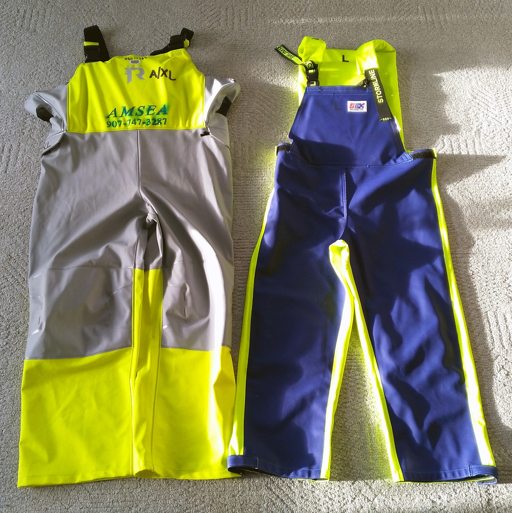Regatta and Stormline are companies that manufacture flotation oilskins.