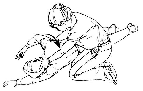 Rolling a non-breathing victim onto his back to perform CPR. If no breathing is observed, carefully turn the person over on their back keeping the neck and back in line.