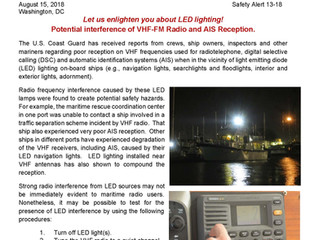 LED Lights May Interfere with Reception on Marine VHF Radios & AIS Receivers