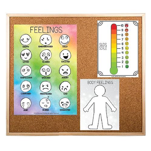 Poster Set! Rainbow Feelings Poster & SUDS/Body Feelings Poster