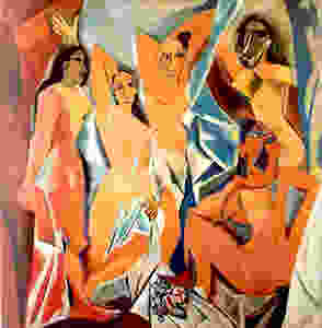 A photograph of Picasso's famous painting, Les Demoiselles d'Avignon, the painting that introduced modern cubism to the art world.