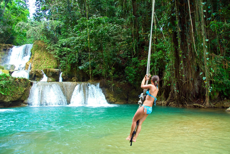 Jamaica, Negril, Cascade waterfall,