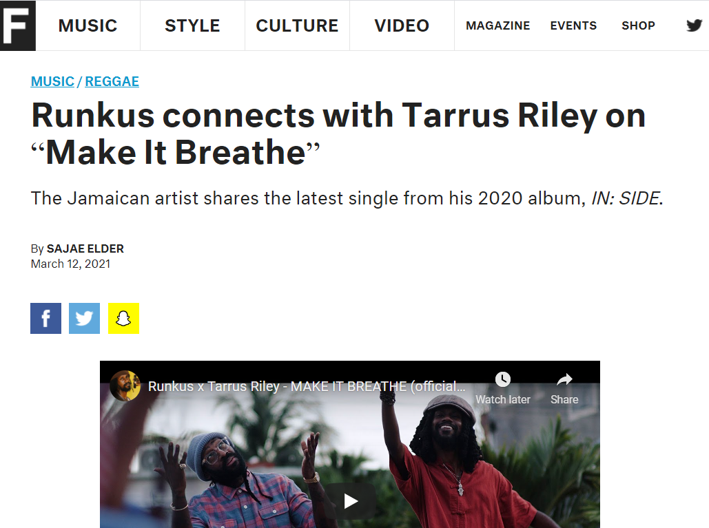 "Runkus connects with Tarrus Riley on ""Make It Breathe"""