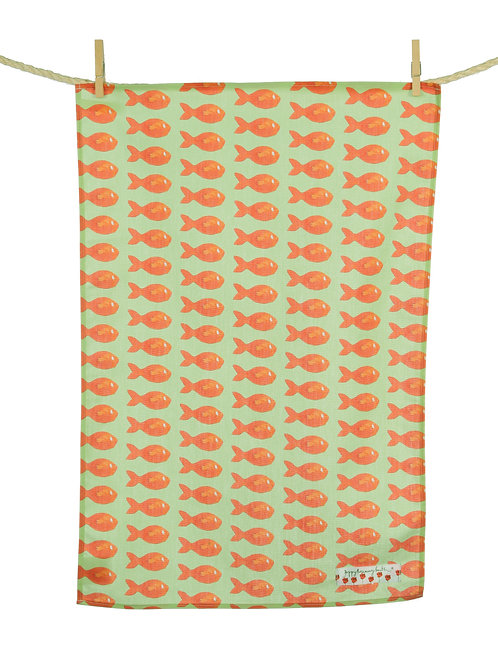 Orange Fish Tea Towel