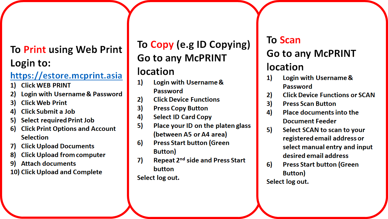 INSTRUCTION GUIDE - WEBPRINT COPY & SCAN