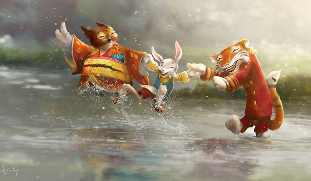 Tiger Rabbit Owl   delightful anthropamorphic characters walking on water