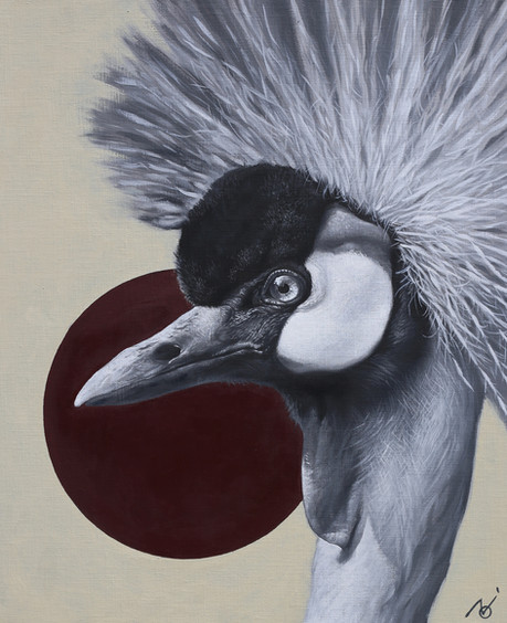 The Moment - Crowned Crane / 2019 / Oil on canvas / 45.5 x 53 x 2 cm