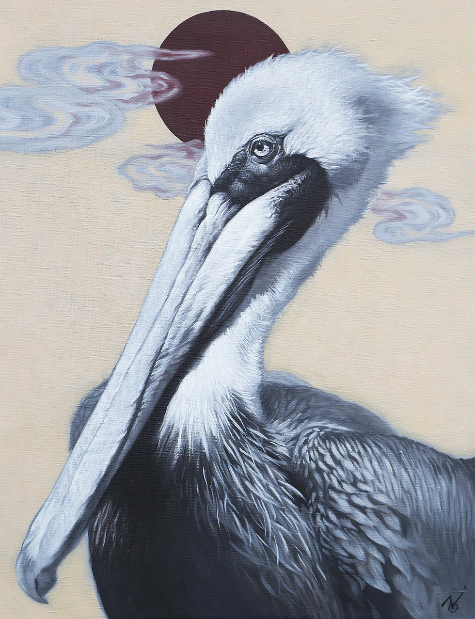 The Moment - Pelican / 2019 / Oil on canvs / 50 x 65.2 x 2 cm