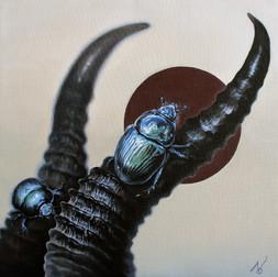 The Crawler (on the animal horns)/2020/ Oil on canvas/ 41 x 41cm