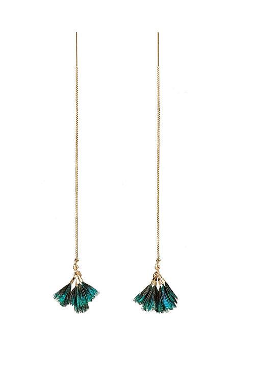 Boucles d'oreilles Peacock Pompon