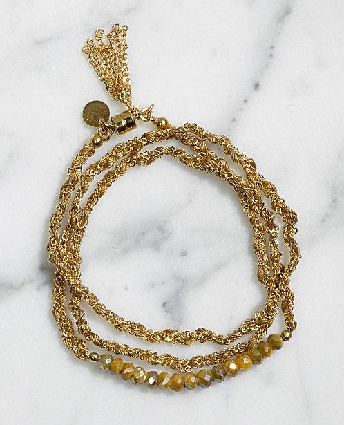 """Bracelet Maxi Couture - Quartz """"oeil de tigre"""""""
