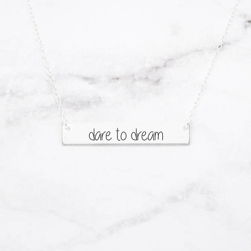 Dare to Dream - Sterling Silver Bar Necklace
