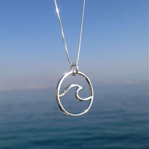 Ocean Wave Pendant Women Beach Nautical Surfing Jewelry for Travel Love Gift