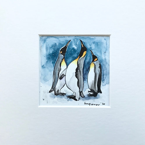'Star Gazing Emperors' - miniature Penguin Painting